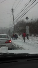 Off of Roswell Road. Many students and other Sandy Springs residents chose to abandon vehicles altogether and trek their way through the snow.