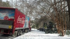 Drivers of cars and trucks alike were forced to pull over and abandon their vehicles once they realized the impossibility of making it up the hills. This Coca-Cola semi has been stationed in Mill Glen neighborhood since late last night.