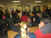 All 83 participants gather periodically in the commons-made-cafeteria for updates from Mr. G and meals