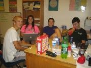 Seniors Bailey Wood, Ashley Turcios, L.E. Laupus, and Alex Taylor snacking away