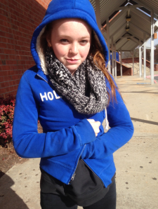 Freshman Anna Walston tries to keep warm in the record-breaking temperatures brought by the polar vortex.