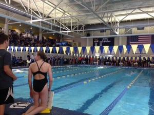 Swimmers get ready to compete at the County meet.
