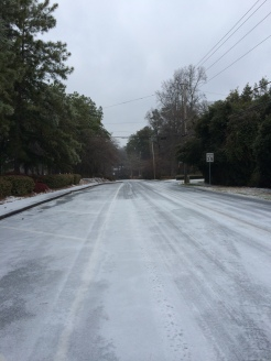 Road conditions on Spalding Drive as of 11:00 a.m., Wednesday, February 12