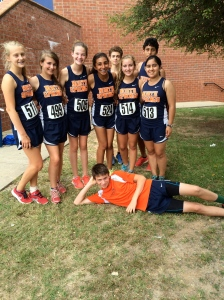 > (left to right): Paige Lowe, Katie Alexander, Marie Fetherston, Sofi Taher,Jake Eaves, Hildy Newman, Grace Motahari, Daniel Lopez and Mikey Mokowski are all smiles at their first cross country meet.
