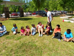 Junior, Perla Nunez with a child care group at Lakeforest Elementary.