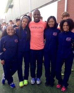 1st in State relay team: Tyra Williams, Micaiah Ransby, Coach McKay, Dorian Perkins, and Molly Jackson (left to right)