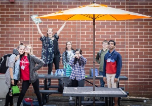 Seniors enjoy the new umbrellas provided by FONS