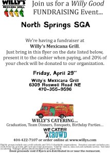 Diners at Willy's can show this flyer to direct 20% of their bill to North Springs' Student Government